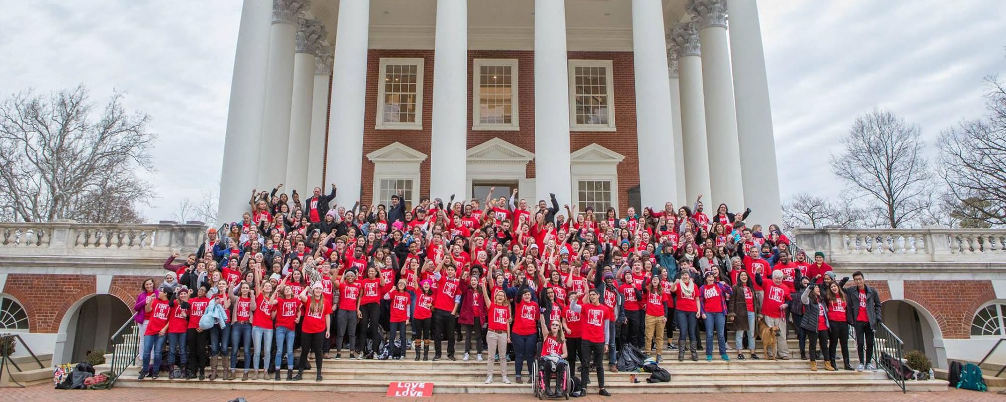 Students on the steps of the Rotunda celebrating Love is Love