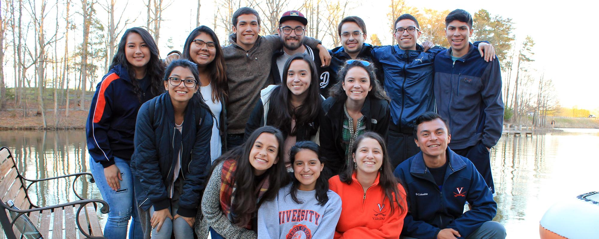Group of students at the Hispanic/Latinx Peer Mentoring Program retreat